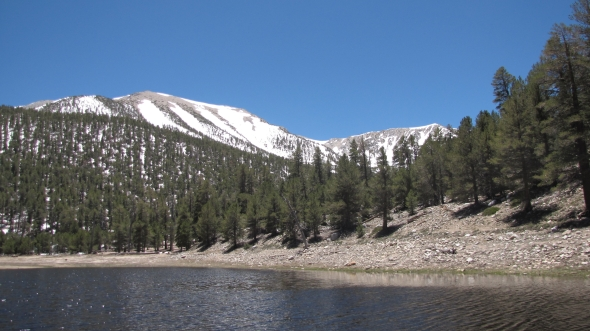 San Gorgonio Mountain towering above Dry Lake, San Bernardino National Forest, CA