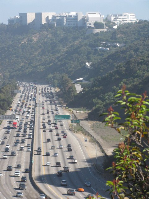 Traffic on the 405 Freeway as seen from the Getty View Trail