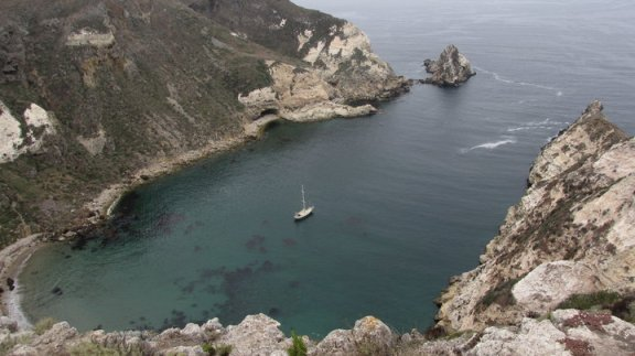 Panoramic view of Potato Harbor, Santa Cruz Island, Channel Islands National Park, CA