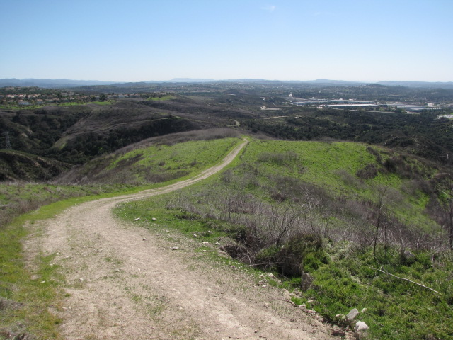 Trail leading down Dreaded Hill, Whiting Ranch Wilderness Park, Orange County, CA