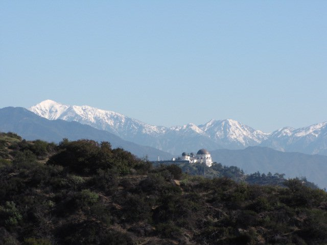 San Gabriel Mountains and Griffith Observatory from the Trebek Open Space