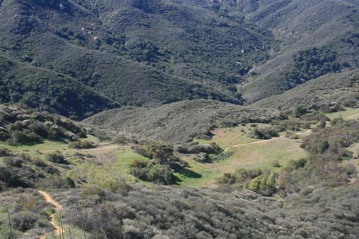 Looking down from the ridge above Hidden Valley