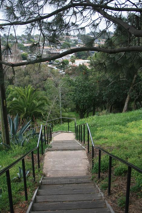Heading back down the stairs into the park
