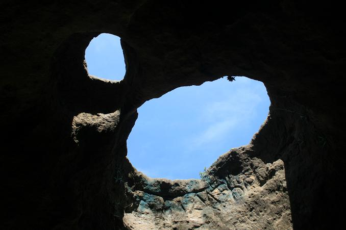 Looking up through the roof of the Vanalden Cave