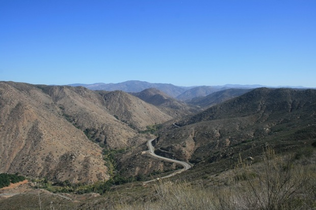 View of Highway 78 from near the top of the western fork