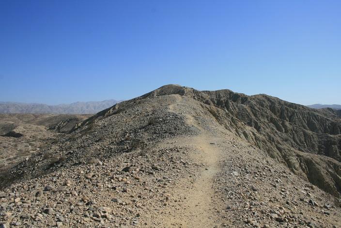 Following the ridge on Bee Rock Mesa, Coachella Valley Preserve