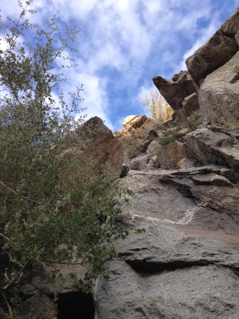 Climbing the boulders in Hellhole Canyon below Maidenhair Falls