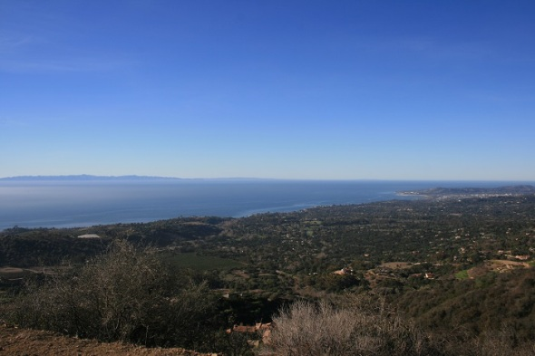 Ocean view from the fire road ascending above Romero Canyon