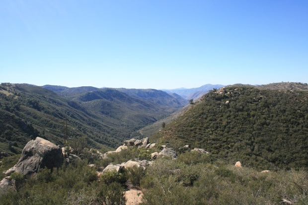 View of the upper San Diego River canyon from the top of the trail