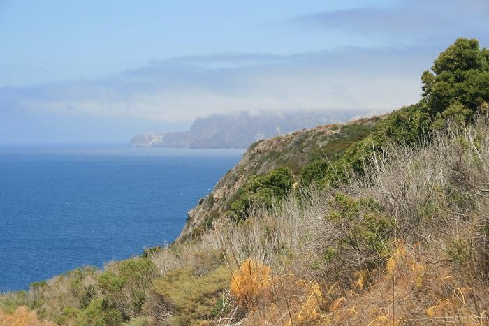 View of the coastline of Santa Cruz Island, Channel Islands National Park, California