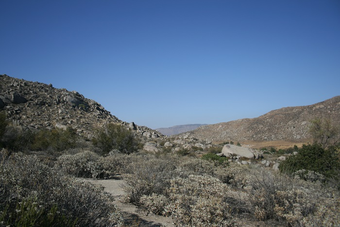 Looking north toward the San Bernardino Mountains en route to the Maze Stone