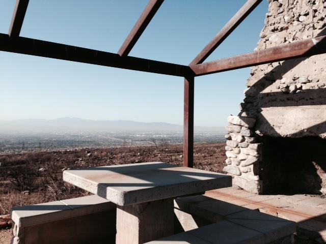 Cabin, picnic table and metal frame, North Etiwanda Preserve