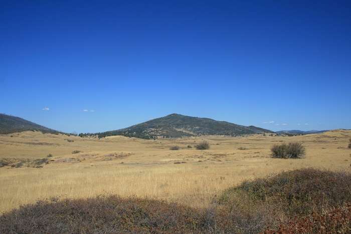 Panoramic view of fields, mountains and sky, Soapstone Grade Fire Road, Cuyamaca Rancho State Park