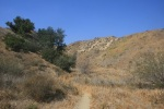 Single track trail leading into a canyon, Michael Antonovich Regional Park