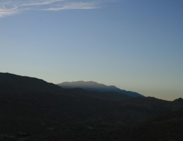 San Jacinto Mountains at dusk on the Randall Henderson Trail, Palm Desert, CA