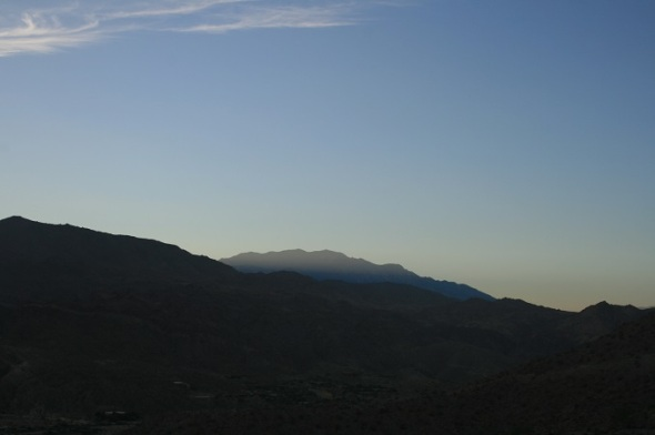 San Jacinto Mountains at dusk on the Randall Henderson Trail, Palm Desert, CA