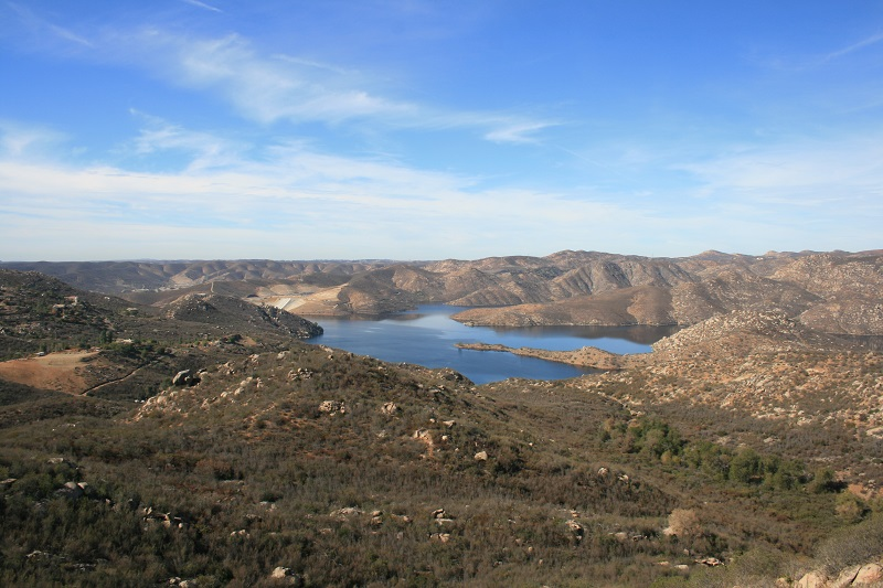 View of San Vicente Reservoir, San Diego, CA from the Oak Oasis Open Space Preserve