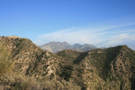 View of the San Gabriel Mountains from the Earl Canyon Motorway, San Gabriel foothills, CA