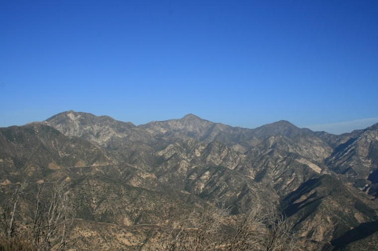 View of Strawberry Peak and the San Gabriel Mountains from the top of the Earl Canyon Motorway, Angeles National Forest, CA