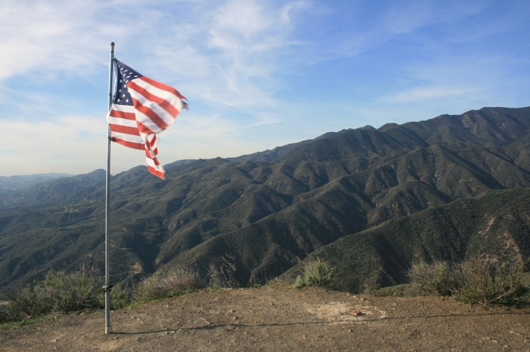 American Flag on Bell Peak, Santa Ana foothills, Orange County, CA