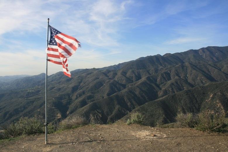 American Flag on Bell Peak, Santa Ana foothills, Orange County, CA