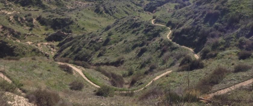 Pacific Crest Trail winding its way through the western San Bernardino Mountains, California