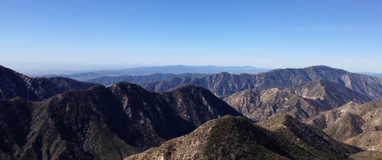 Looking southwest at the Angeles National Forest and L.A. Basin from Strawberry Peak, highest point in the front country of the Angeles National Forest