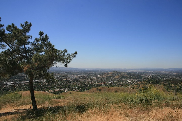 Panoramic view above San Dimas Canyon, San Gabriel Valley, CA