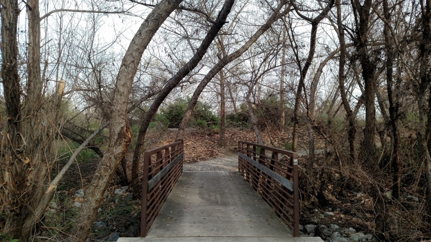 Footbridge in Chino Creek Wetlands, Chino, CA