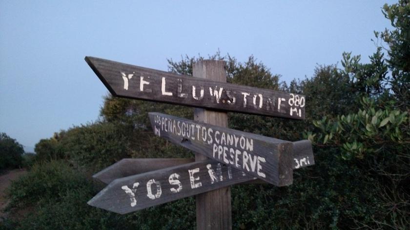 Trail sign at Carmel Mountain Preserve, San Diego