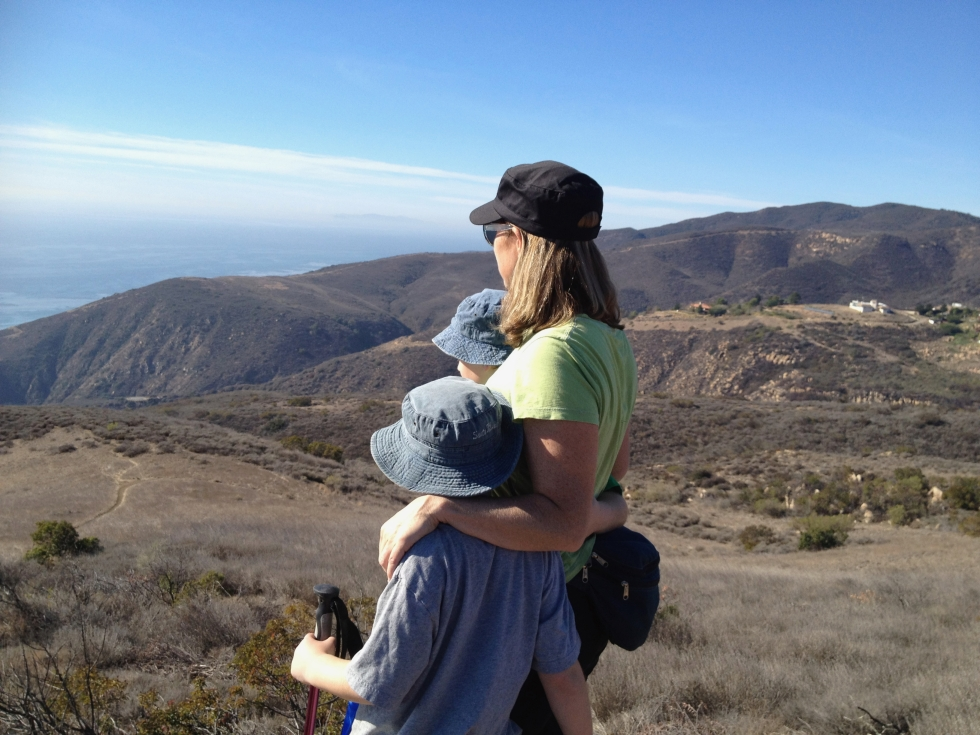 Mother hiking with sons, Malibu, CA