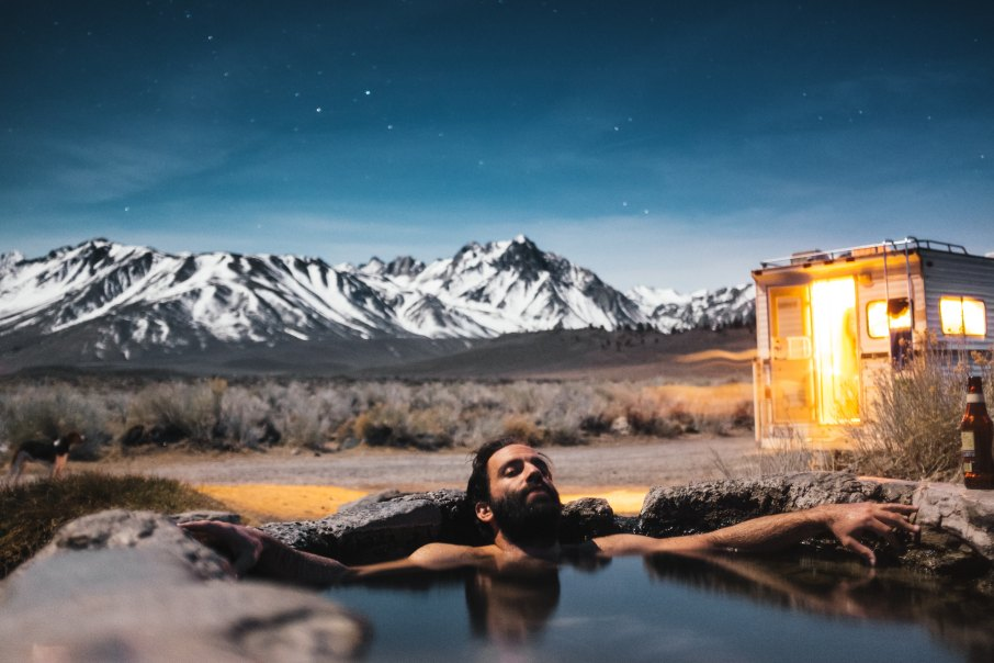 relaxing in a hot spring, CA