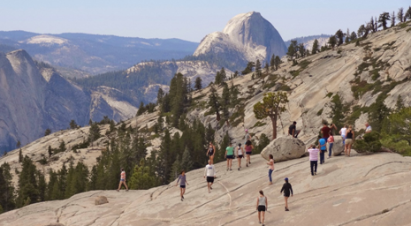 Hikers in Yosemite National Park