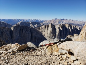 Hiking poles at Trail Crest, Mt. Whitney