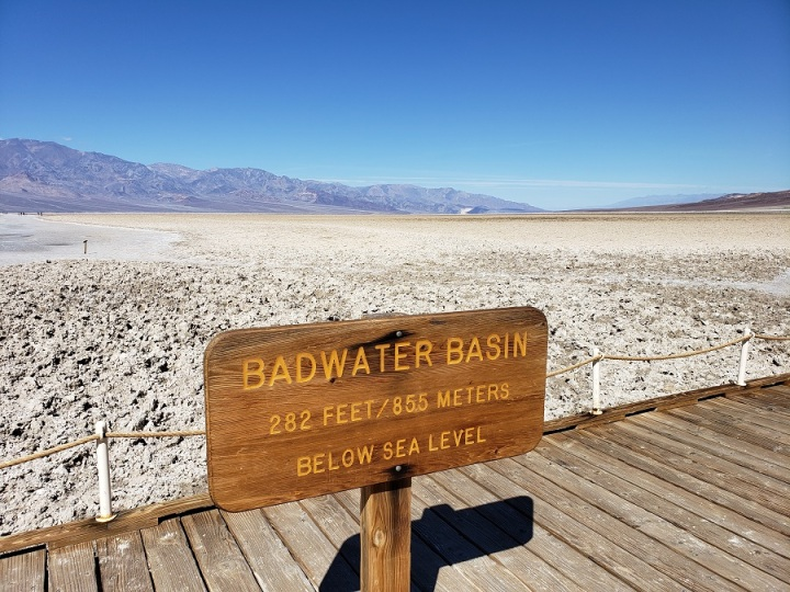 Sign at Badwater Basin, Death Valley, CA